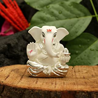 CraftVatika Silver Plated White Terracotta Appu Ganesha Statue God Ganesh Idol for Car Dashboard Ganpati Murti Figurine Gifts Home Decor (Size: 6 cm x 4 cm)