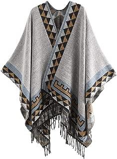 LODDD Women Color Stitch Cashmere Wool Striped Tassel Shawl Soft Neck Scarf