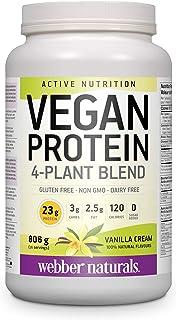 Webber Naturals Vegan Protein Powder, 4-Plant Blend, Vanilla Cream Flavour, 26 Servings, 23 g of Protein, 806 g