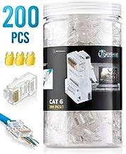EZ - RJ45 Cat6 Pass Through Connectors Pack of 200/Jar | EZ Crimp Connector UTP Network Unshielded Plug for Twisted Pair Solid Wire & Standard Cables | Transparent Passthrough Ethernet Insert