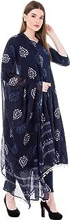 Gulmohar Jaipur Women's Cotton Printed Kurta Pants Set (Blue)