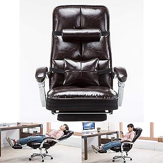 AAGYJ Silla de Oficina ergonómica, sillas gerenciales y sillas ejecutivas, sillas para computadora de Escritorio de Cuero de PU, con Almohada Lumbar de Masaje y reposapiés retráctil, marrón