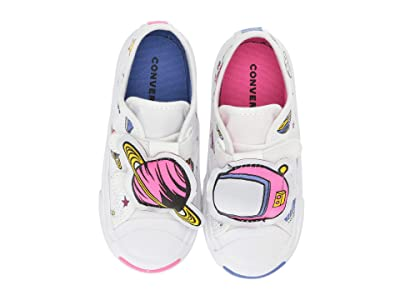 Converse Kids Jack Purcell 3V Ox (Infant/Toddler) (White/Ozone Blue/Mod Pink) Girls Shoes