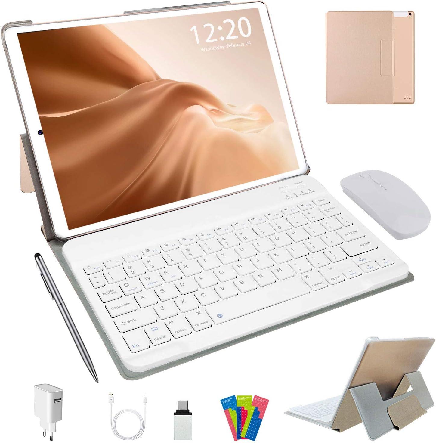 Tablet 10 Pulgadas Android 10.0, 4G LTE Tablets, 4GB de RAM y 64 GB/Scalabile a 128 GB, Dobles SIM, GPS, WiFi, 8000mAH,Teclado Bluetooth, Ratón, Funda para Tableta y Más Incluidos (Plata) (Dorado)