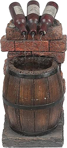 popular Wine online Bottle and Barrel new arrival Fountain, Mini Resin Beer Self-Circulating Water Garden Courtyard Lawn Ornaments, Home and Garden Statues Decoration outlet sale