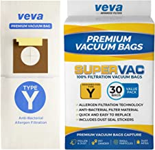 VEVA 30 Pack Premium SuperVac Vacuum Bags Type Y Compatible with Hoover WindTunnel Upright Vacuum Cleaners Style Y, YZ, Z Allergen 4010100Y Models Replacement Bag