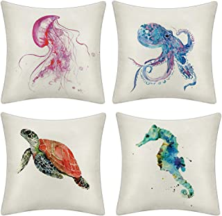 JOTOM Set of 4 Decorative Cushion Covers Square Throw Pillow Covers Home Decor Design Set Covers Cushion Case for Sofa Bedroom Car 18x18 Inches (Marine Life B)