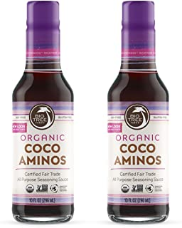 Big Tree Farms Coco Aminos, Organic All-Purpose Soy Sauce Alternative, Non-GMO, Soy Free, Gluten Free, Made with Fair Trade Coconut Nectar, 10 Ounce (Pack of 2)