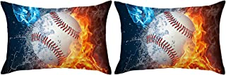 ARIGHTEX Baseball Pillow Cover Fire and Ice White Ball Pillow Case Baseball Fist Pillow Shams Boys Sports Pillow Covers Set of 2 (Fist Baseball, Standard 20