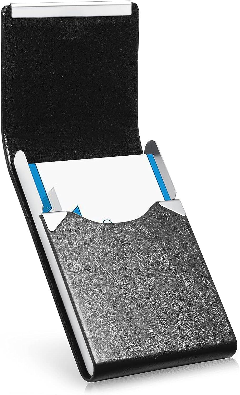 Business Card Holder, Luxury Microfiber Leather Business Card Case, Metal Card Holder Pocket, Slim Name Card Holder, Business Card Holder Wallet for Women & Men with Magnetic Shut (Black)