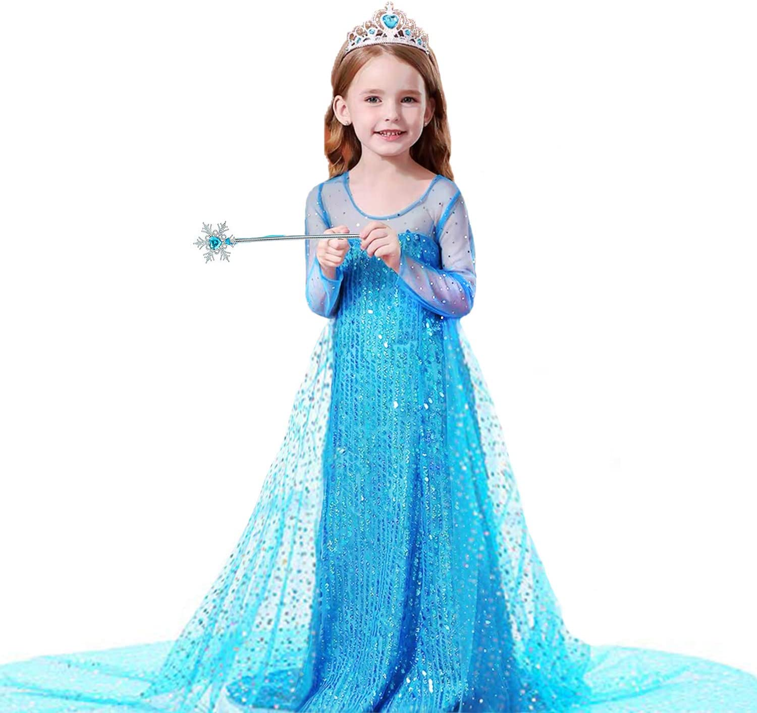 blue1, 4-5 Years Birthday Party Costume with Accessories Dress Up Princess Dress for Girls