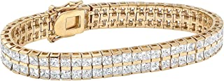 Palm Beach Jewelry Goldtone Princess Cut Cubic Zirconia, Double Row Tennis Bracelet (5.5mm), Hidden Box Clasp, 7.25 inches