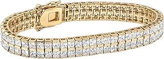Goldtone Princess Cut Cubic Zirconia, Double Row Tennis Bracelet (5.5mm), Hidden Box Clasp, 7.25 inches