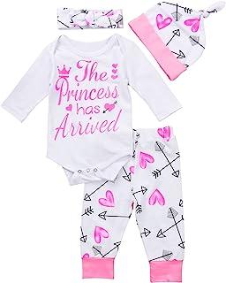 4 pcs Baby Girls Pants Set Newborn Infant Toddler Letter Romper Arrow Heart Pants Hats Headband...