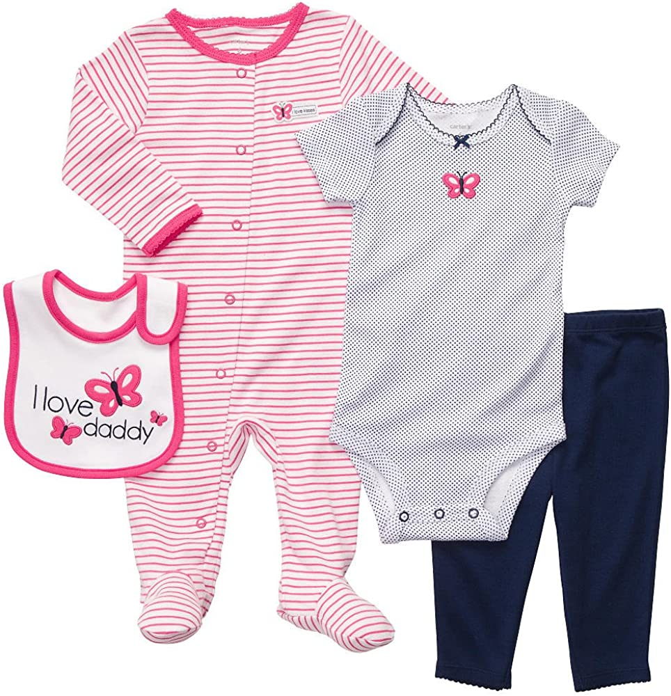 Carter's Baby Girls' 4-Piece Layette Super Special SALE held Pink Butterfly Navy - Set 2021 spring and summer new