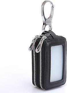 MuLier Genuine Leather Sheepskin Weave Pattern Key Chain Holder Case Car Key Pouch ID Window Key Wallet Black