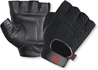 Mesh Fingerless Anti-Vibe with Genuine Leather and AV Gel in Palm, Thumb, and Index Finger, Medium