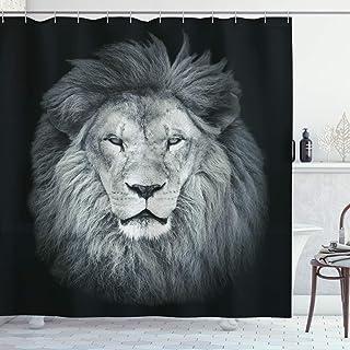 Ambesonne Safari Shower Curtain, Huge Lion Head with Fure Mane Against Dark Background Monochromic, Cloth Fabric Bathroom Decor Set with Hooks, 70 Long, Green Grey