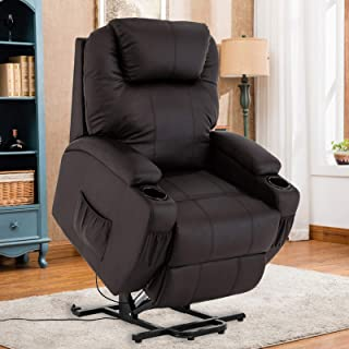 Mecor Lift Chair for Elderly Power Lift Recliner Chair Bonded Leather Electric Lifting Chair with Remote Control/Cup Holders/Reinforced Heavy Duty Reclining Mechanism for Living Room (Brown)