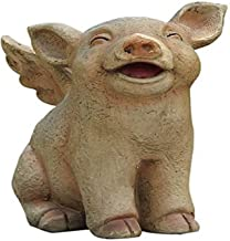 Hi-Line Gift Ltd Sitting Pig with Wings Laughing Statue