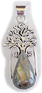 Labradorite Pendant, Silver Plated Brass Pendant, Handmade Pendant, Gift Jewelry, Women Jewellry, Fashion Jewellry, BRS-12349
