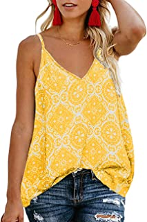 e169a4190d9f7 TECREW Women s Boho Floral V Neck Spaghetti Straps Tank Top Summer  Sleeveless Shirts Blouse