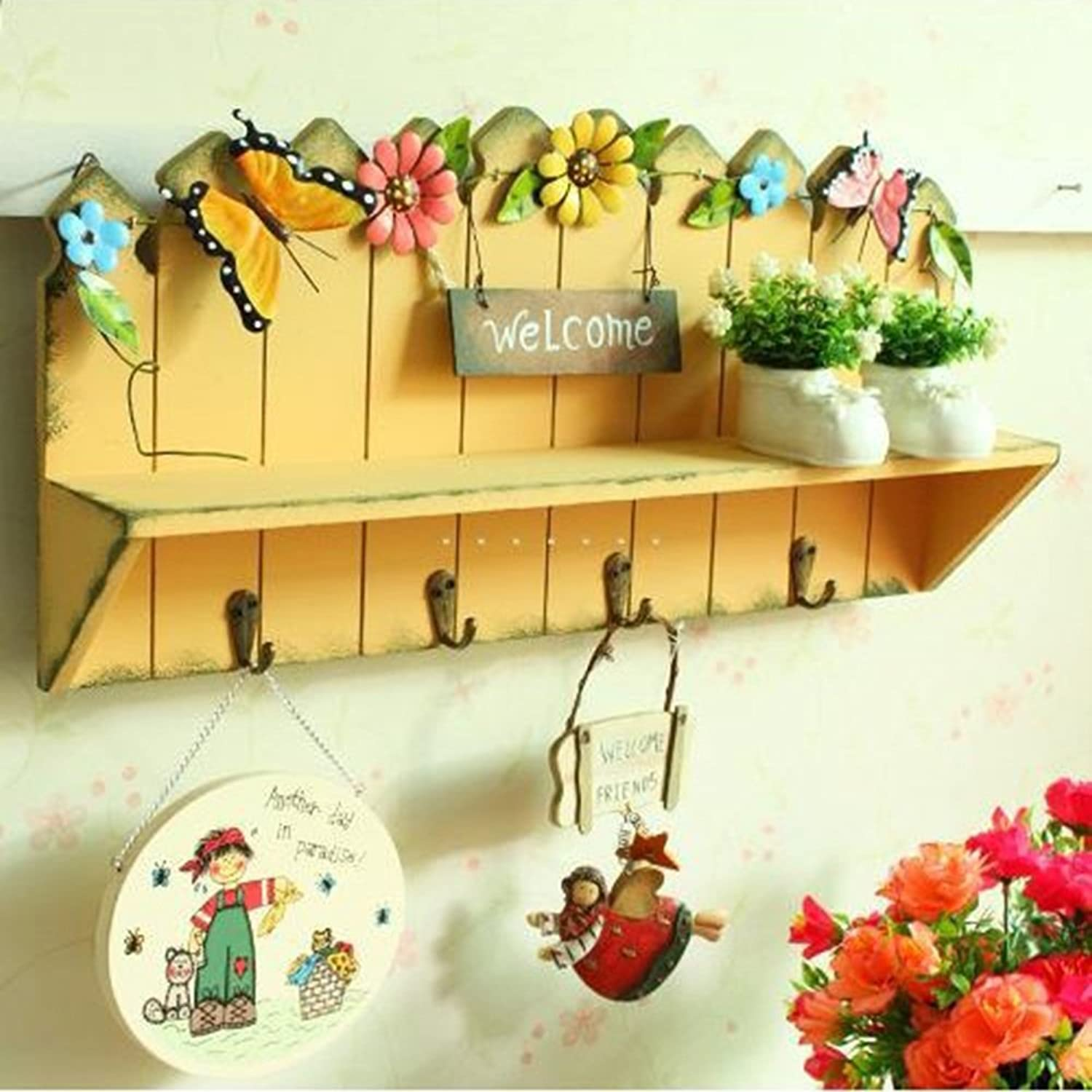 ZEMIN Wall Coat Rack Clothes Hat Hanger Holder Hooks Shelf Wood Welcome Fashion Style, Yelllow, 47.5x9x23CM (color   Yellow, Size   1 Piece)
