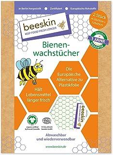 beeskin Bienenwachstuch 2er Set zum Frischhalten & Aufbewahren von Lebensmitteln – Größe: M, 25x25 cm & L, 35x35 cm, 2 Stück Standard