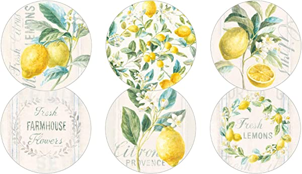Legacy Publishing Group RCC51306 Danhui Nai Round Cork Backed Coaster Set 6 Count Fresh Citrus Lemons