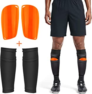 Adult Youth Kids Soccer Shin Guards with Compression Calf Sleeves - 1 Pair Shin Pads + 1 Pair Calf Sleeves Lightweight Breathable Leg/Calf Protective Guards Soccer Equipment