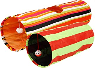 Pet Magasin Collapsible Cat Tunnel Toys (2 Pack) Interactive Pet Tubes with Fun Balls and Crinkle Peep Hole Design for Small Medium & Large Cats Dogs Rabbits and Other Small House Animals