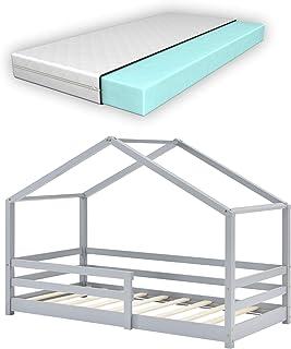 Lit d'enfant Design en Forme Maison avec Grille de Protection Lit Cabane Construction Solide avec Matelas Orthopédique Boi...