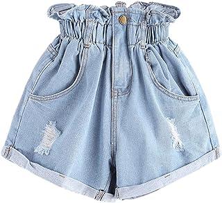 Milumia Women's Casual High Waisted Hemming Denim Jean Shorts Pockets