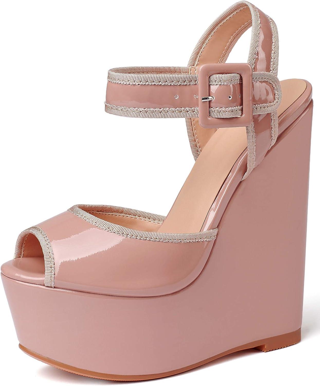 Eldof Womens Finally popular brand Wedge Ranking TOP8 Platform Sandals Strap H Toe Peep Ankle