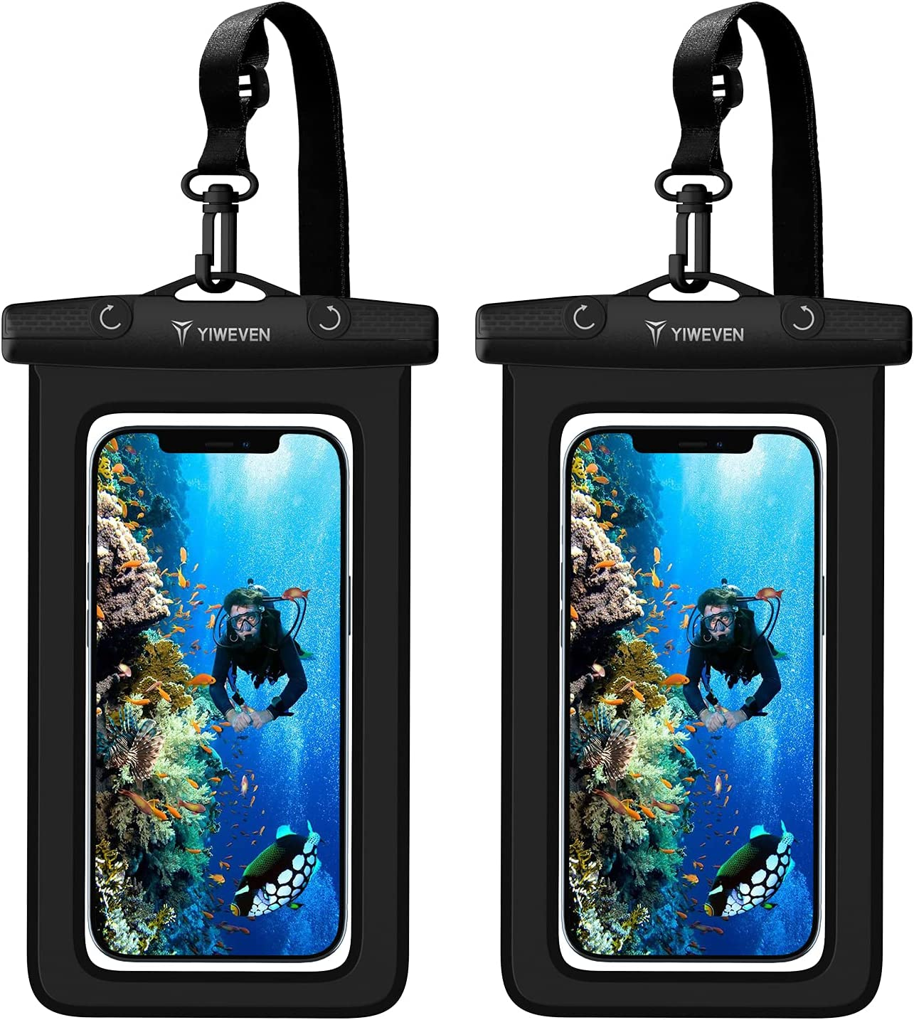 YIWEVEN Waterproof Phone Case, [2 Pack] IPX8 Universal Water-Proof Pouch Cellphone Dry Bag for iPhone 12 Pro Max/11/XR/XS/SE 2020/7/8/Samsung Galaxy/Moto/Google/Blu and More up to 7 inch