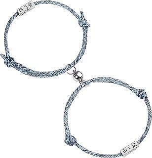 Diealles Shine 2Pcs Coppia Bracciale Magnetico Coppia Bracciale Corda Intrecciata Regalo Set di Gioielli per Donna Uomo