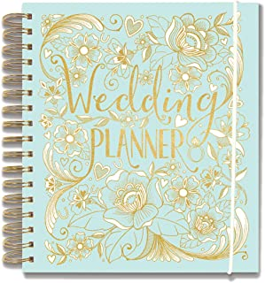 "Rachel Ellen Designs Hard Cover 9"" Wedding Planner & Organizer, Checklists, Gold Foil Details, Journal Notebook"
