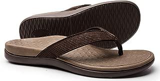 LLSOARSS Plantar Fasciitis Feet Sandal with Arch Support - Best Orthotic flip Flops for Flat Feet,Heel Pain- for Women (7, Brown)