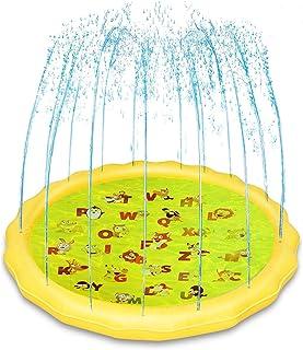 KINSPORY 67'' Kids Summer Water Play Sprinklers Toy Mat Splash Pool Pad - Sweet Pink