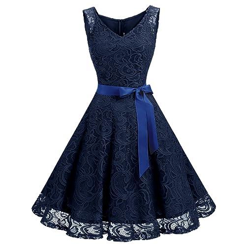 e849dfb77f Dressystar Women Floral Lace Bridesmaid Party Dress Short Prom Dress V Neck