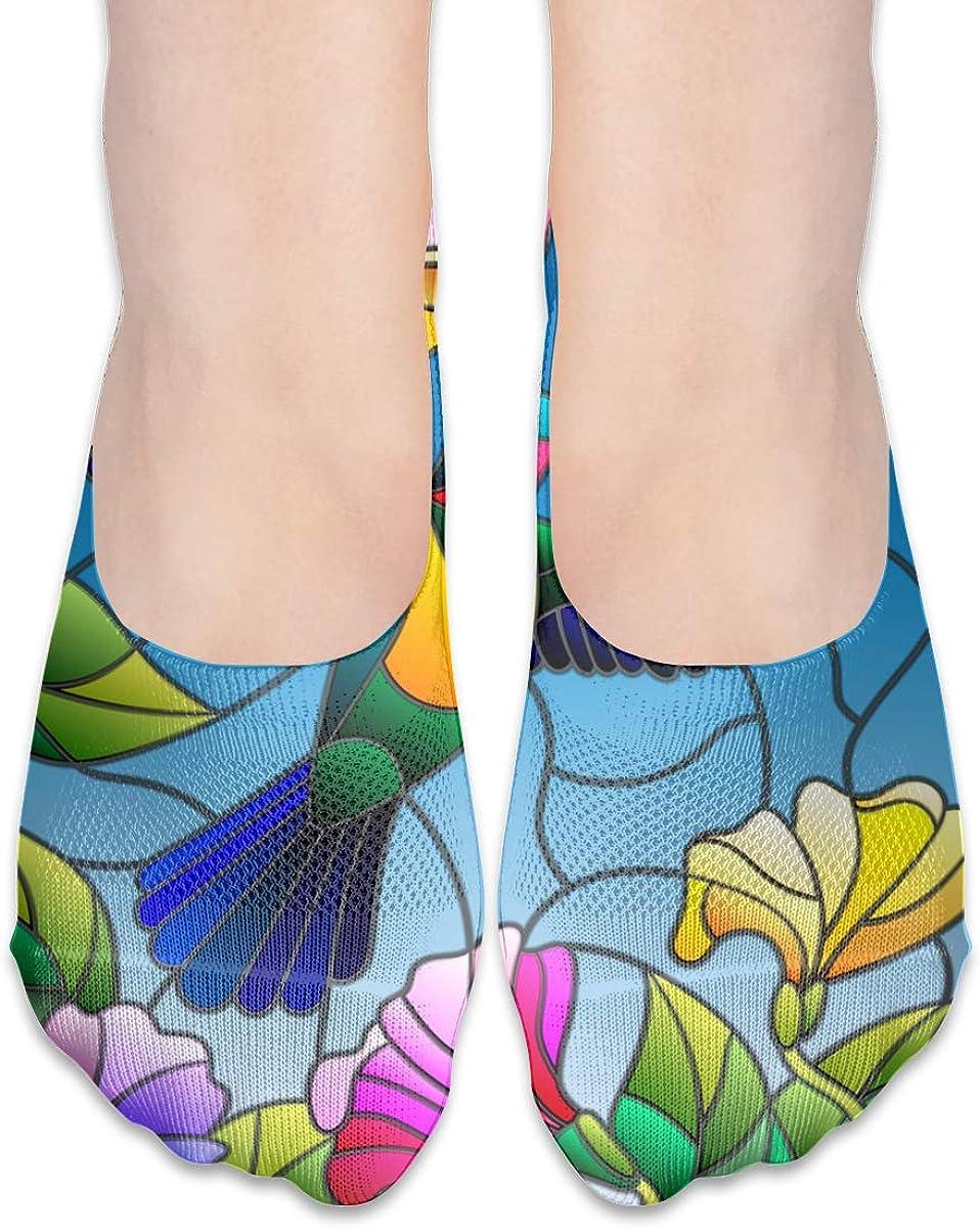 No Show Socks Women Men For Colorful Hummingbird Floral Flower Flats Cotton Ultra Low Cut Liner Socks Non Slip