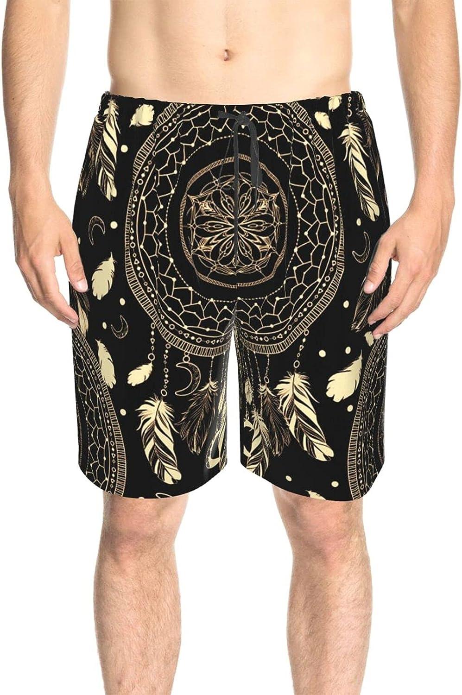JINJUELS Men's Swim Trunks Tribal Dream Catch Beach Board Shorts Fast Dry Fashion Surf Beach Shorts with Mesh Lining