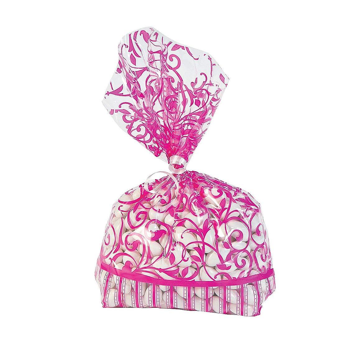 Fun Express - Hot Pink Swirl Cello Bags (dz) for Wedding - Party Supplies - Bags - Cellophane Bags - Wedding - 12 Pieces