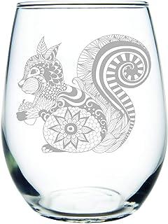 C M Squirrel 15 oz. stemless wine glass
