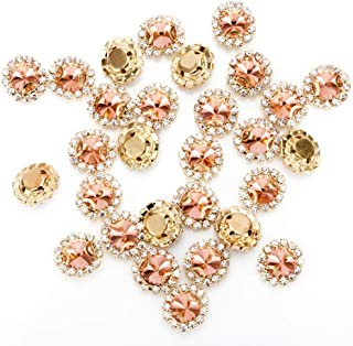 Premium Crystal Rhinestones Sew on, 50Pcs Bright Flatback Beads Buttons with Diamond, DIY Craft Perfect for Clothes Garment, Clothing, Bags, Shoes, Dress, Wedding Party Decoration (Rose Gold)