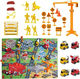 DS. DISTINCTIVE STYLE Mini Fire Fighting Construction Vehicles Truck Toys with 31.4 Inches x 28 Inches Play Mat Interestin...