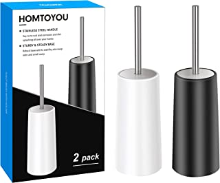 Toilet Brush And Holder Stainless Steel, HOMTOYOU Length Handle Toilet Bowl Brush Scrubber Set With Durable Bristles And Sturdy Stand For Toilet And Bathroom (White And Black 2 Pack)