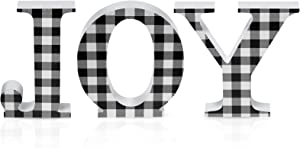 3 Pieces Christmas Joy Wooden Letter Sign Buffalo Check Plaid Letter Sign Freestanding Table Signs Decoration for Christmas Home Table Decoration (Black and White Plaid)