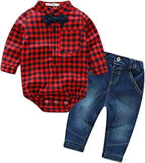 Kimocat Baby Boys Gentleman Outfit, Toddlers Denim Jeans Woven Romper Shirt with Bowtie