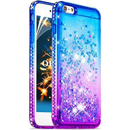 OKZone Cover iPhone 6S/6 Plus[con Pellicola Proteggi Schermo],Glitter Liquido Custodia Moda 3D Pendenza Bling fluente Cover Morbido TPU Bumper ...